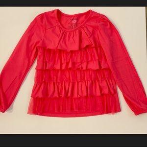 Girls long sleeve ruffle hot pink shirt